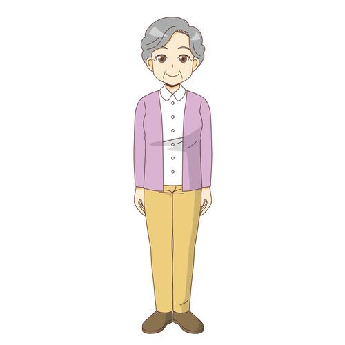 女性高齢者(高齢者(おばあさん・おじいさん)/介護現場の人物)のイラスト