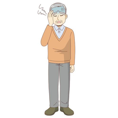 体調不良の男性高齢者(高齢者(おじいさん・おばあさん)/介護現場の人物)のイラスト