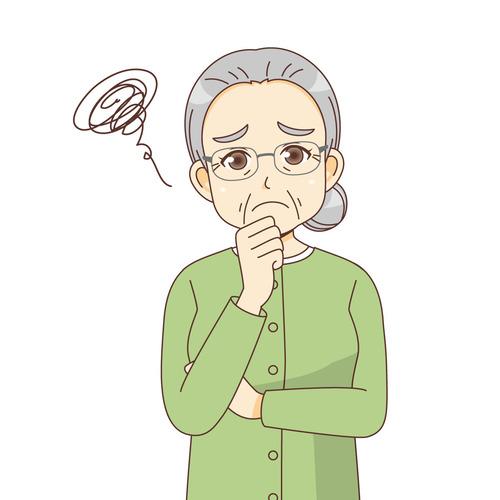 困っている女性高齢者(高齢者(おじいさん・おばあさん)/介護現場の人物)のイラスト