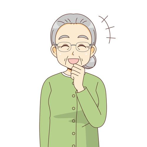 笑っている女性高齢者(高齢者(おじいさん・おばあさん)/介護現場の人物)のイラスト