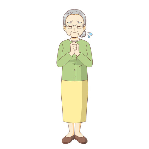 悲しんでいる女性高齢者(高齢者(おじいさん・おばあさん)/介護現場の人物)のイラスト