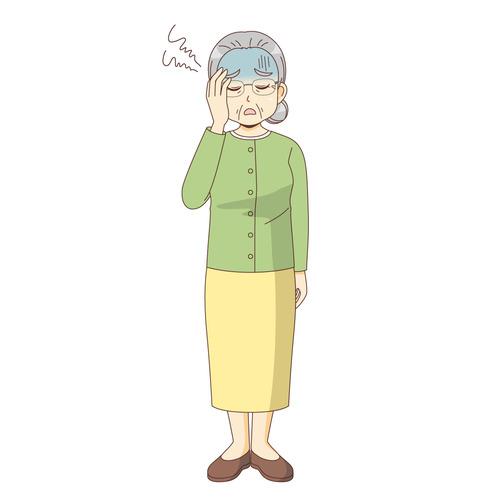 体調不良の女性高齢者(高齢者(おじいさん・おばあさん)/介護現場の人物)のイラスト