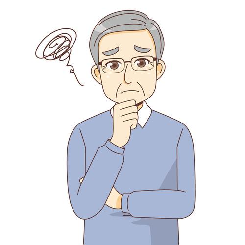 困っている男性高齢者(高齢者(おじいさん・おばあさん)/介護現場の人物)のイラスト