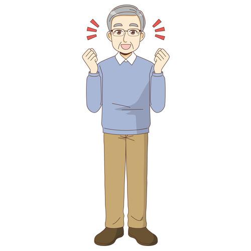 ガッツポーズする男性高齢者(高齢者(おじいさん・おばあさん)/介護現場の人物)のイラスト
