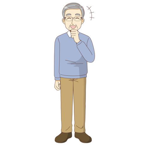 笑っている男性高齢者(高齢者(おじいさん・おばあさん)/介護現場の人物)のイラスト