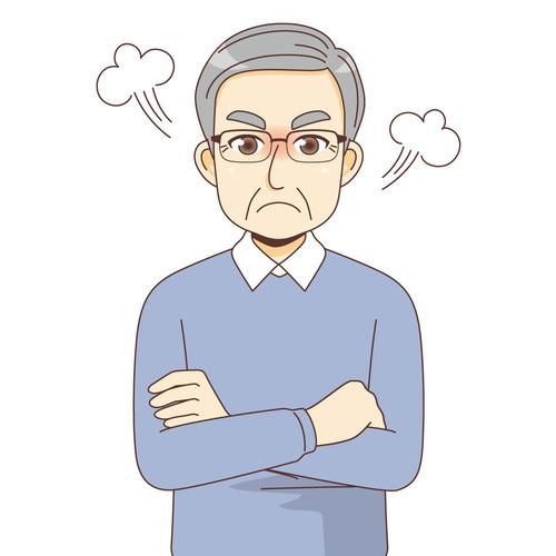怒っている男性高齢者(高齢者(おじいさん・おばあさん)/介護現場の人物)のイラスト