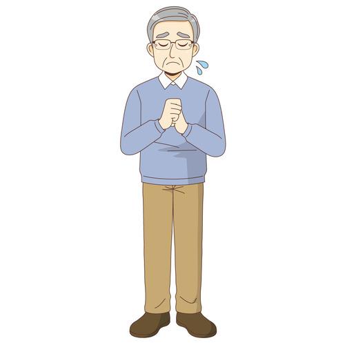 悲しんでいる男性高齢者(高齢者(おじいさん・おばあさん)/介護現場の人物)のイラスト