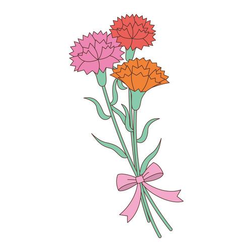 カーネーションの花(季節・行事/その他一般・装飾)のイラスト
