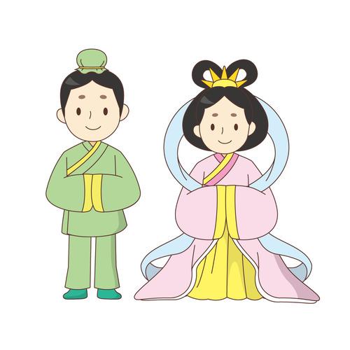 織姫さまと彦星さま(季節・行事/その他一般・装飾)のイラスト