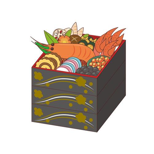 お正月のおせち料理(季節・行事/その他一般・装飾)のイラスト