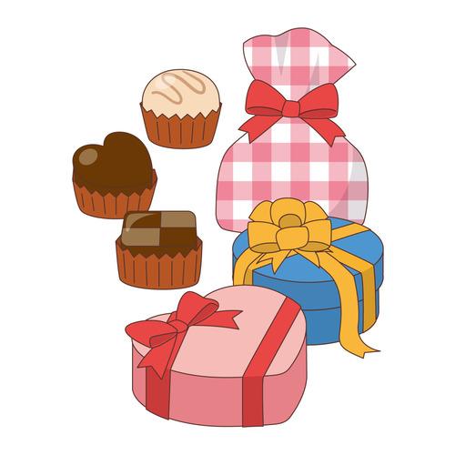バレンタインデーのチョコレート(季節・行事/その他一般・装飾)のイラスト
