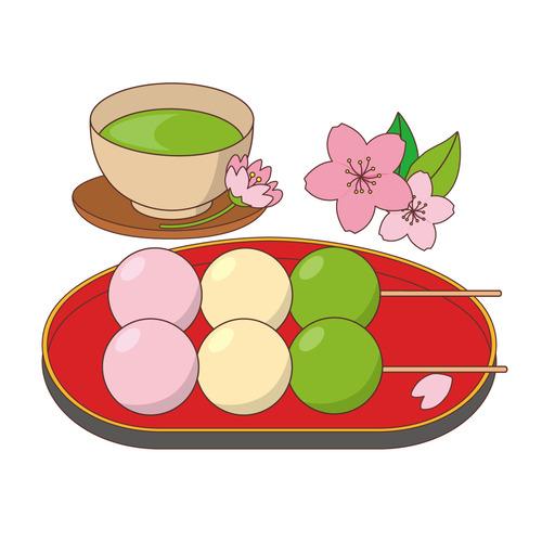 三色団子と抹茶(季節・行事/その他一般・装飾)のイラスト