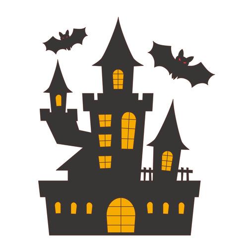 ハロウィンのコウモリとお屋敷(季節・行事/その他一般・装飾)のイラスト
