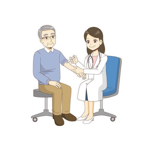 男性高齢者に注射を打つ女性医師(診察・治療・手術/医療・病気)のイラスト
