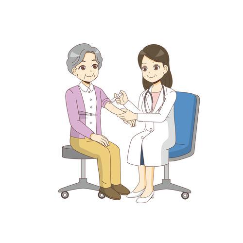 女性高齢者に注射を打つ女性医師(診察・治療・手術/医療・病気)のイラスト