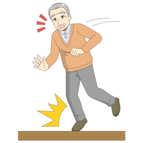 つまずいて転倒する男性高齢者(その他高齢者の病気・怪我・事故/医療・病気)のイラスト