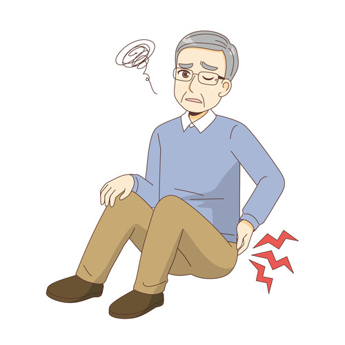 転倒して腰を痛める男性高齢者(その他高齢者の病気・怪我・事故/医療・病気)のイラスト