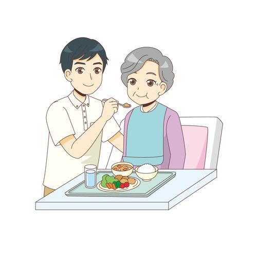 女性高齢者の食事介助を行う男性介護職(食事・食事介助/介護・生活)のイラスト