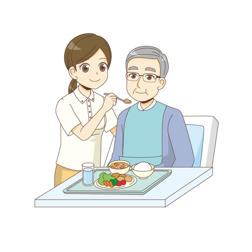 男性高齢者の食事介助を行う女性介護職(食事・食事介助/介護・生活)のイラスト