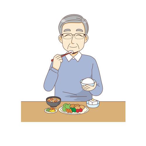 食事をする笑顔の男性高齢者(食事・食事介助/介護・生活)のイラスト