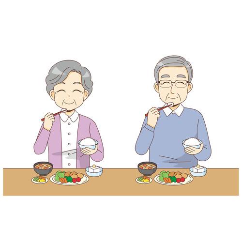 食事をする笑顔の高齢者(食事・食事介助/介護・生活)のイラスト