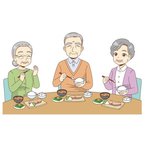食事をする笑顔の高齢者のグループ(食事・食事介助/介護・生活)のイラスト