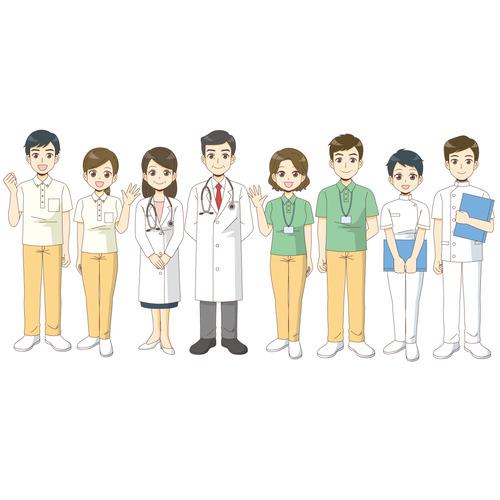 高齢者を支えるさまざまな職種(医療・福祉/医療・病気)のイラスト