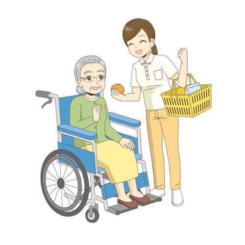 訪問介護サービスの買い物同行(訪問介護・訪問看護/施設・サービス)のイラスト