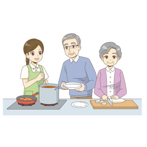 介護施設での料理(グループホーム/施設・サービス)のイラスト
