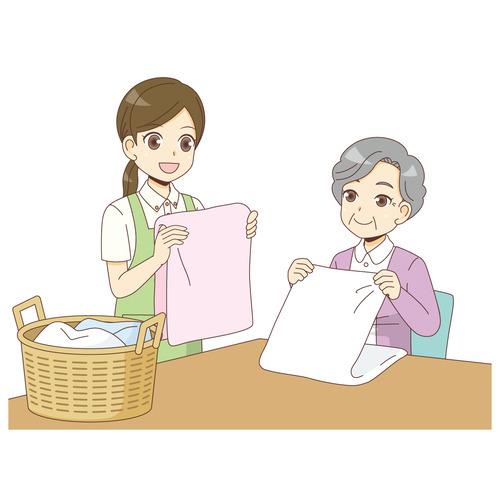 介護施設での洗濯(グループホーム/施設・サービス)のイラスト