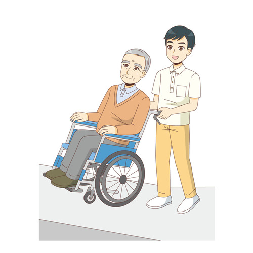 坂道で車椅子の高齢者を介助する介護職(バリアフリー/福祉用具)のイラスト