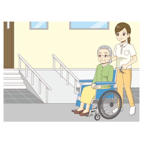 スロープのついた階段と車椅子の高齢者(バリアフリー/福祉用具)のイラスト