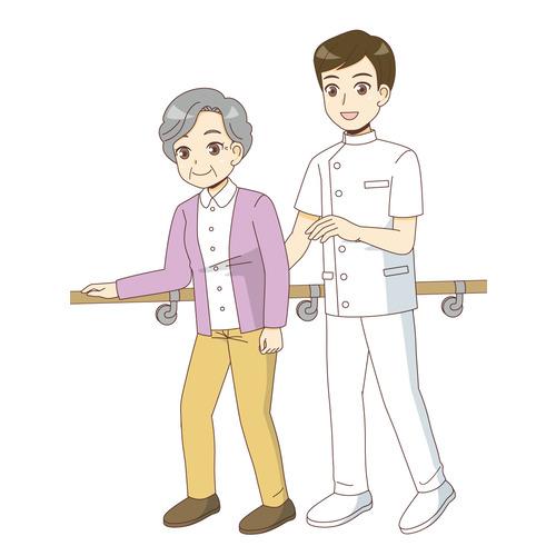 機能訓練指導員と歩行訓練を行う高齢者(リハビリ/介護・生活)のイラスト