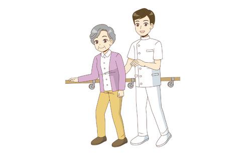 機能訓練指導員と歩行訓練を行う高齢者(リハビリ/介護・生活)