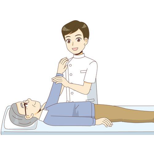 マッサージによるリハビリを行う高齢者(リハビリ/介護・生活)のイラスト