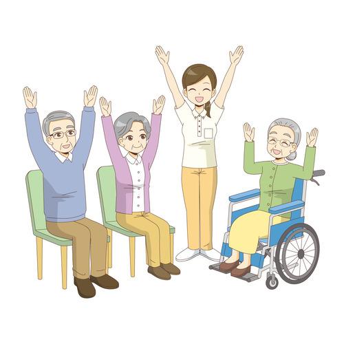 椅子に座ったままできる体操を行う高齢者(運動・椅子体操/介護・生活)のイラスト