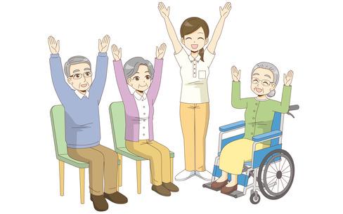 椅子に座ったままできる体操を行う高齢者(運動・椅子体操/介護・生活)
