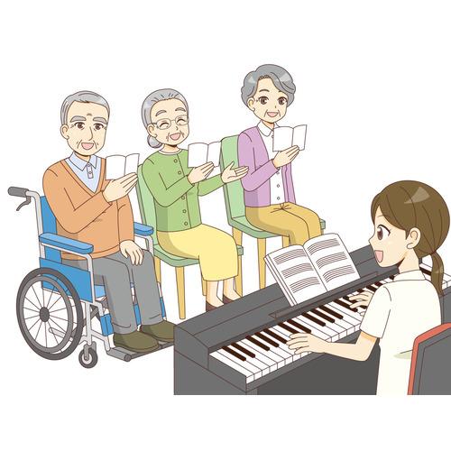 介護施設での歌レクリエーション(レクリエーション・イベント/介護・生活)のイラスト