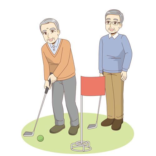 グラウンドゴルフを行う男性高齢者(レクリエーション・イベント/介護・生活)のイラスト