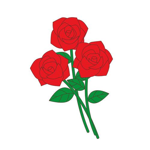 赤い薔薇(お花/その他一般・装飾)のイラスト