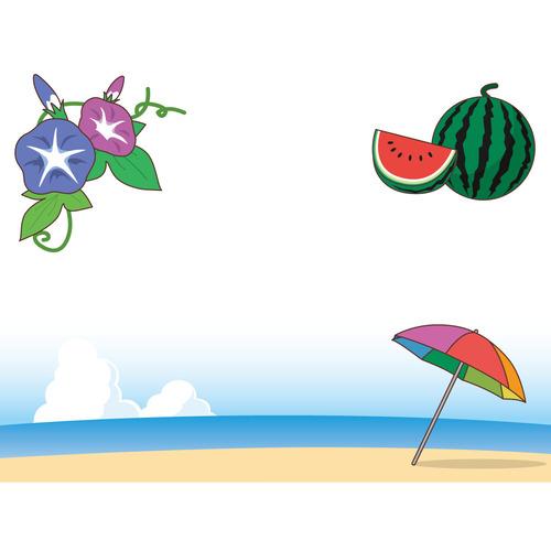 夏のフレーム(お便り・お便りフレーム/フレーム・テンプレート)のイラスト