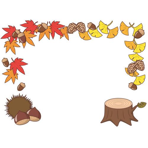 秋のフレーム(お便り・お便りフレーム/フレーム・テンプレート)のイラスト