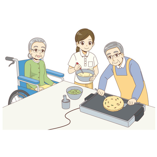 レクリエーションでお好み焼きをつくる男女の高齢者と女性介護職(レクリエーション・イベント/介護・生活)のイラスト
