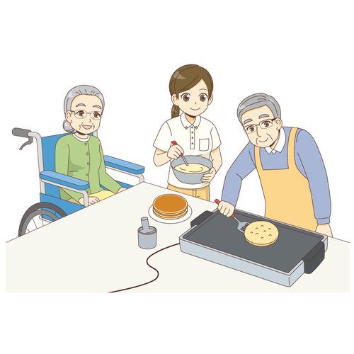レクリエーションでホットケーキをつくる男女の高齢者と女性介護職(レクリエーション・イベント/介護・生活)のイラスト