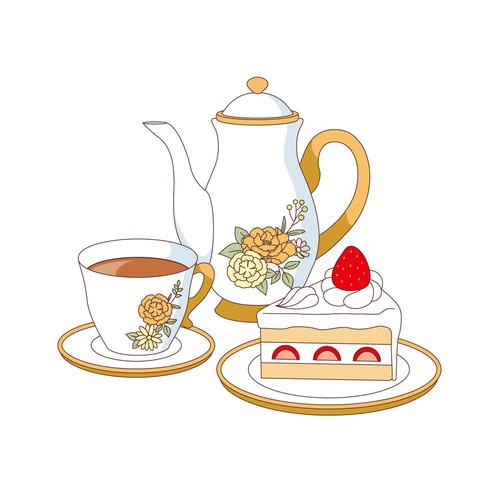 ショートケーキと紅茶(食べ物・飲み物/その他一般・装飾)のイラスト