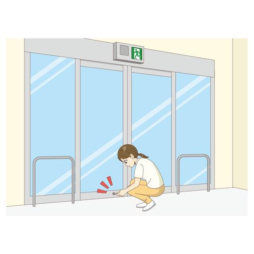 自動ドアの施錠を行う女性介護職(介護士・ヘルパー/介護現場の人物)のイラスト