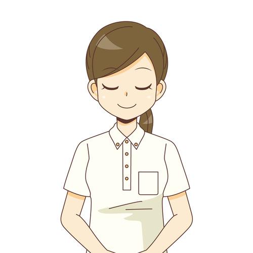 おじぎをする女性介護職(介護士・ヘルパー/介護現場の人物)のイラスト