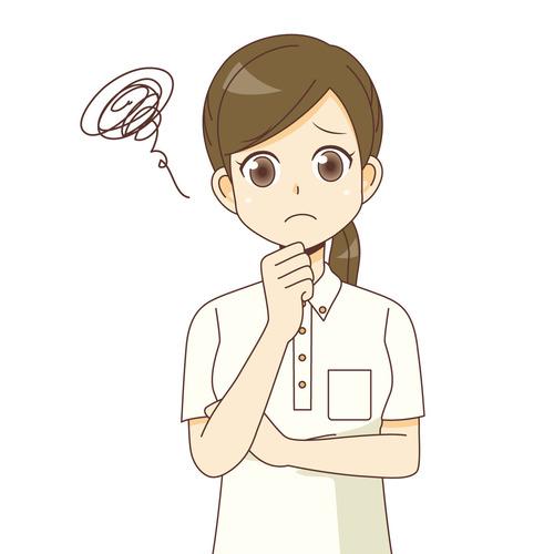 困っている女性介護職(介護士・ヘルパー/介護現場の人物)のイラスト