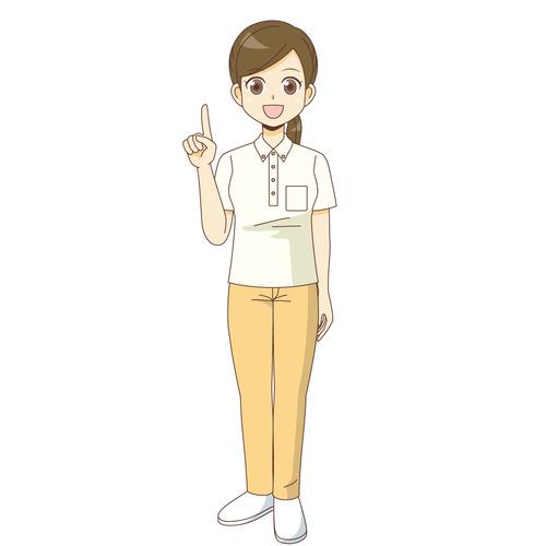 説明する女性介護職(介護士・ヘルパー/介護現場の人物)のイラスト