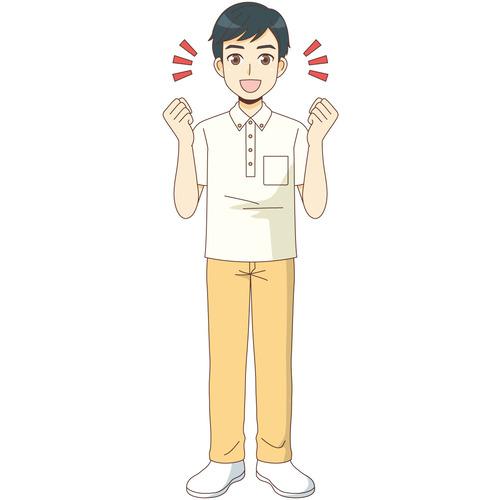 ガッツポーズする男性介護職(介護士・ヘルパー/介護現場の人物)のイラスト